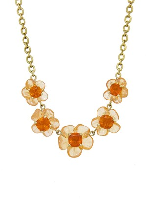Irene Neuwirth One-Of-A-Kind Carved Mandarin Garnet and Fire Opal Flower Yellow Gold Necklace