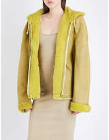 Yeezy Ladies Yellow Concealed Zip Season 4 Shearling-Lined Suede Jacket