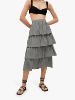 Thumbnail for your product : MANGO Gingham Print Tiered Ruffle Midi Skirt, Black