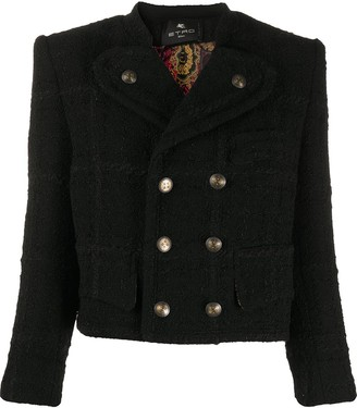Etro Double Breasted Cropped Tweed Jacket