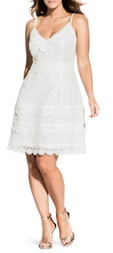 City Chic Nouveau Cotton Blend Lace Fit & Flare Dress