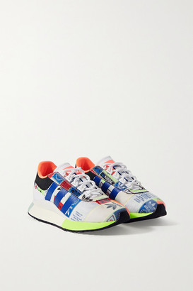 adidas Sl Fashion Logo-embroidered Patchwork Canvas, Leather And Nubuck Sneakers - White