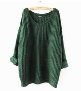 ARJOSA Women's Cable Knit Oversized Crewneck Casual Pullovers Sweaters (, Green)