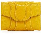 Khirma Eliazov Jolie Snakeskin Flap Clutch Bag, Yellow