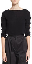 The Row Jian Cashmere Bow-Sleeve Sweater, Black