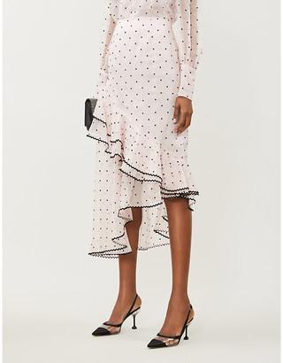 Erdem Antoinette polka-dot silk-blend chiffon midi skirt