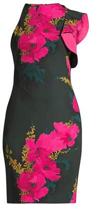 Black Halo Pabla Floral One-Ruffle Sheath Dress