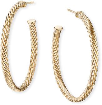 "David Yurman 18k Cablespira Hoop Earrings, 1.5"""