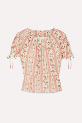 Brock Collection Ruched Grosgrain-trimmed Floral-print Silk-georgette Top - Pastel pink