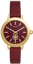 Tory Burch Collins Burgundy Leather Two-Hand Watch
