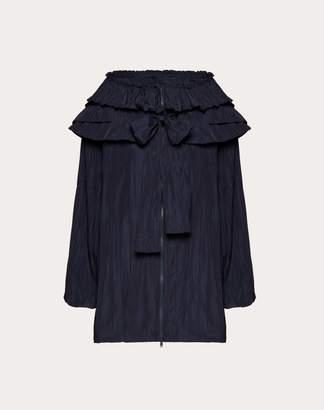 Valentino Nylon Pea Coat With Ruffles Women Navy 38