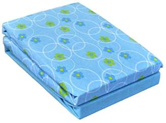 Dudu N Girlie Cotton Travel Cot Fitted Sheets, Flower Blue, 2-Piece