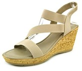 Easy Street Shoes Piceno Women Open Toe Synthetic Tan Wedge Sandal.