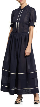 Amaio Swim Delphine Tiered Cotton Long Skirt