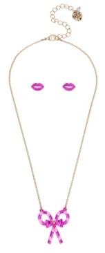 "Betsey Johnson Candy Cane Pendant Necklace Stud Earrings Set, 16"" + 3"" extender"