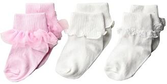 Jefferies Socks Tutu Ruffle/Ripple/Lace 3-Pack (Infant/Toddler/Little Kid/Big Kid) (Pink/White) Girls Shoes