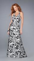 La Femme Stunning Pleated V-Neck A-Line Dress 13458
