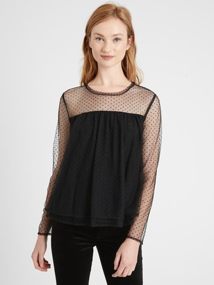 Banana Republic Petite Tiered Tulle Top