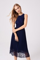 Little Mistress Nadja Navy Lace Pleat Midi Dress
