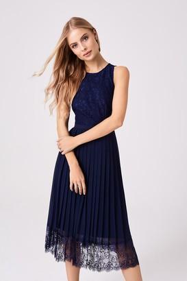 Little Mistress Nadja Navy Lace Pleat Midi Dress