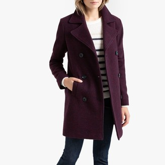 Anne Weyburn Jacquard Double-Breasted Pea Coat with Pockets