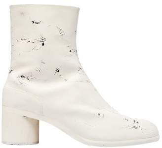 Maison Margiela Tabi Split-toe Painted Leather Boots - Mens - White Multi
