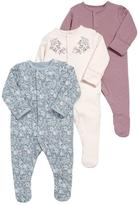 Mamas and Papas Baby Girls 3 Pack Floral Print Sleepsuits