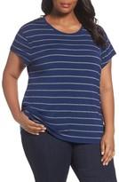 Sejour Plus Size Women's Stripe Tie Back Tee