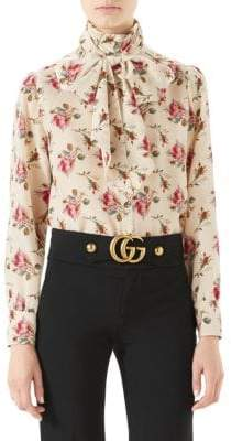 Gucci Long Sleeve Rose Print Tie Neck Blouse
