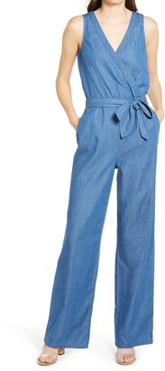 1822 Denim Surplice Chambray Jumpsuit