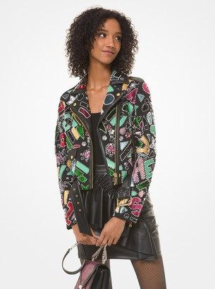 MICHAEL Michael Kors Party Bead Moto Jacket