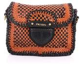Prada Pre-owned: Push Lock Flap Shoulder Bag Madras Woven Leather Small.