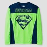 Superman Boys' Long Sleeved Active Wear T-Shirt - Neon Green/ Navy