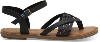 Toms Black Leather with Synthetic Braid Strap Women's Lexie Sandals