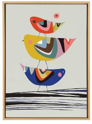 """Laurèl Kate & All Things Decor 23""""x33"""" Slyvie Birds Framed Canvas By Rachel Lee Natural - Kate and"""