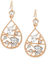INC International Concepts Rose Gold-Tone Crystal Openwork Teardrop Drop Earrings, Only at Macy's