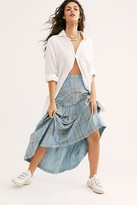 Free People Plaid Fever Midi Skirt by Free People, Dusted Indigo, US 0