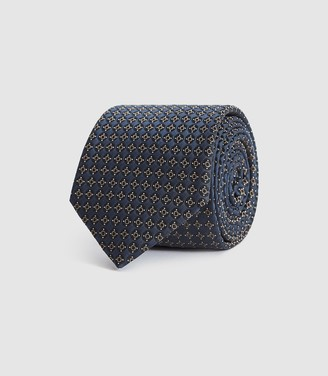 Reiss Nevis - Silk Blend Medallion Tie in Navy