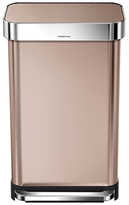 Simplehuman 45L Liner Rim Rectangular Step Can in Rose Gold with Bonus 60 Pack Liners