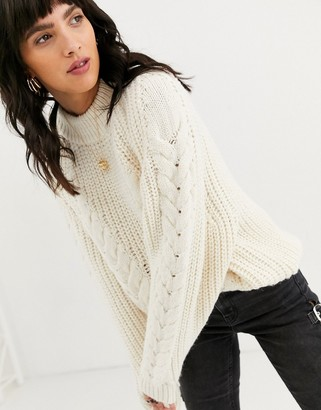 Asos Design DESIGN premium oversized cable jumper-Cream