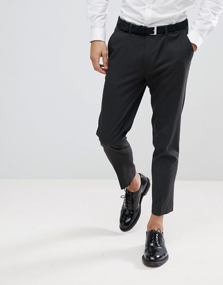 Asos DESIGN skinny cropped smart pants in charcoal