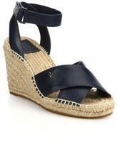 Tory Burch Bima Leather Crisscross Espadrille Wedge Sandals