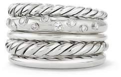 David Yurman Pure Form Wide Ring with Diamonds