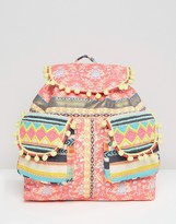 Asos BEACH Backpack with Fluro Poms
