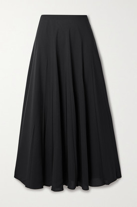 The Row Travi Pleated Twill Midi Skirt - Black