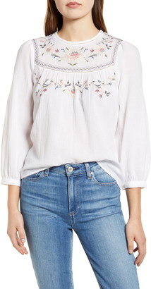Lucky Brand Embroidered Yoke Cotton Peasant Top