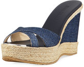 Jimmy Choo Perfume Denim Wedge Slide Sandal, Navy