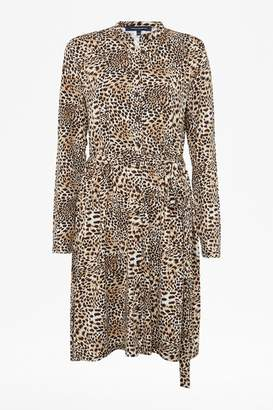 French Connection Leopard Jersey Shirt Dress