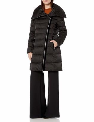 T Tahari Women's Heavy Weight Asymetrical Zipper Closure Puffer Coat