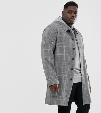 Asos DESIGN Plus trench coat in gray check